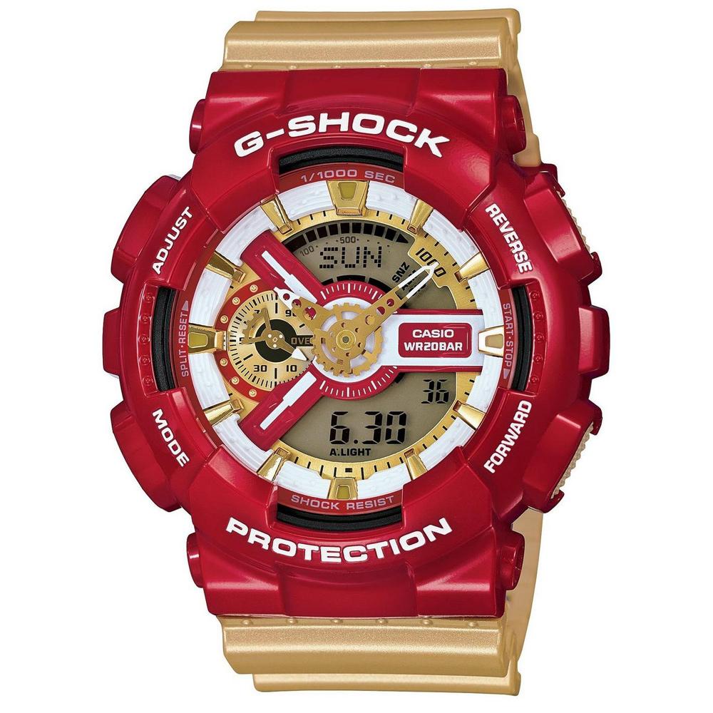 G-SHOCK 夏日亮彩搶眼跳色數位指針雙顯腕錶(GA-110CS)-紅x金色/50mm