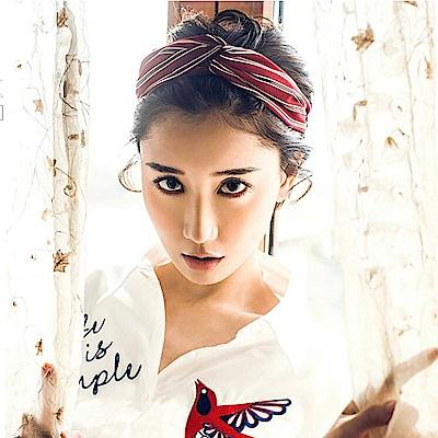 梨花HaNA 韓國簡約好質感酒紅條紋交叉髮帶