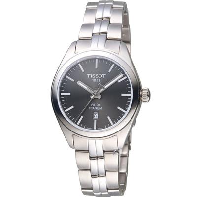 TISSOT天梭 PR 100簡約經典鈦金屬女腕錶(T1012104406100)