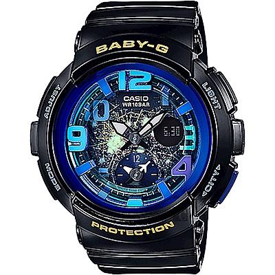 BABY-G 海灘旅行系列深邃夜空兩地時間休閒錶(BGA-190GL-1B)44.3mm