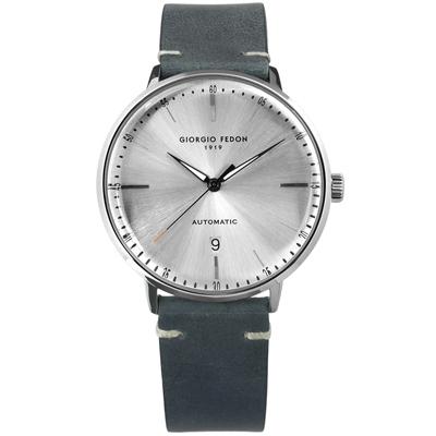 GIORGIO FEDON 1919 自動上鍊日期顯示機械錶皮革手錶-銀x灰/42mm