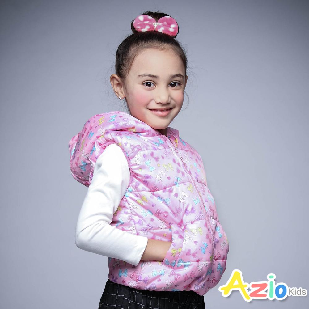 Azio Kids 童裝-鋪棉背心 搖粒絨蝴蝶結拉鍊連帽背心(粉)