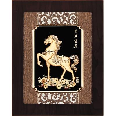 開運陶源 金箔畫 純金~聚財寶馬【馬到成功】27 x34 cm