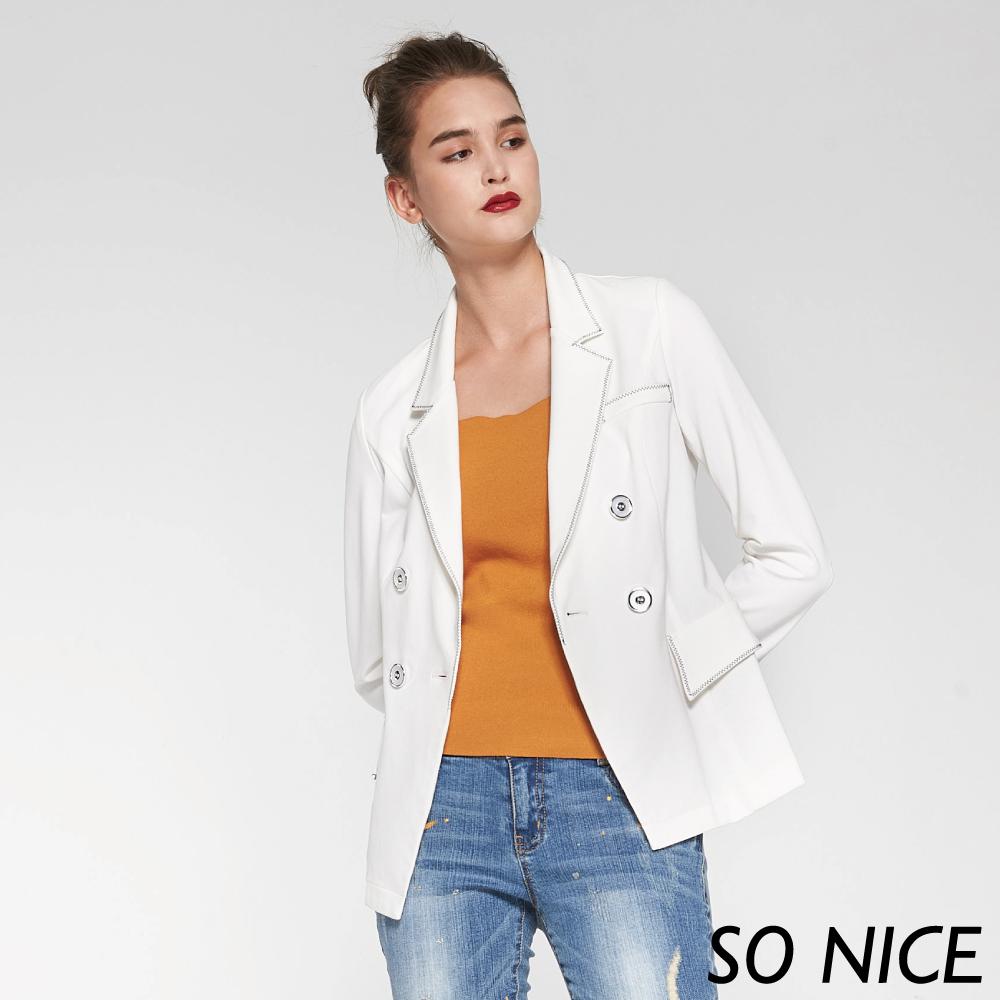 SO NICE都會雙排釦棉質西裝外套