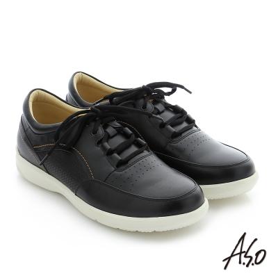 A.S.O 3D超動能 真皮寬楦奈米休閒鞋 黑色
