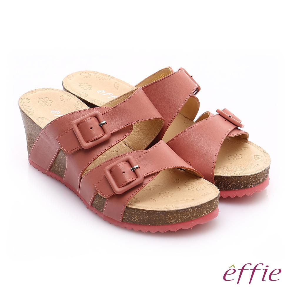 effie休閒摩登 真皮雙寬帶飾釦厚底涼拖鞋 粉橘