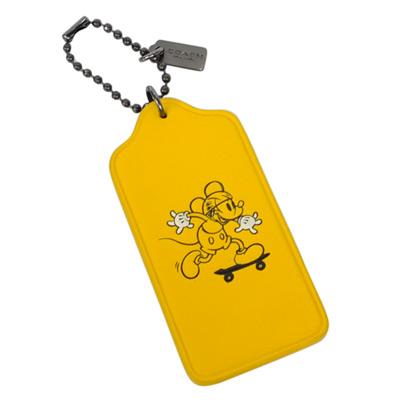 COACH迪士尼聯名款黃色全皮滑板米奇吊牌鑰匙圈COACH