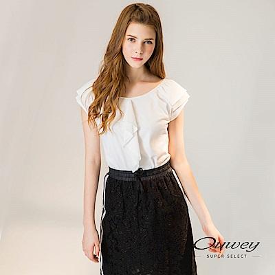 OUWEY歐薇 荷葉層次裝飾連袖棉Tee(白/紅)