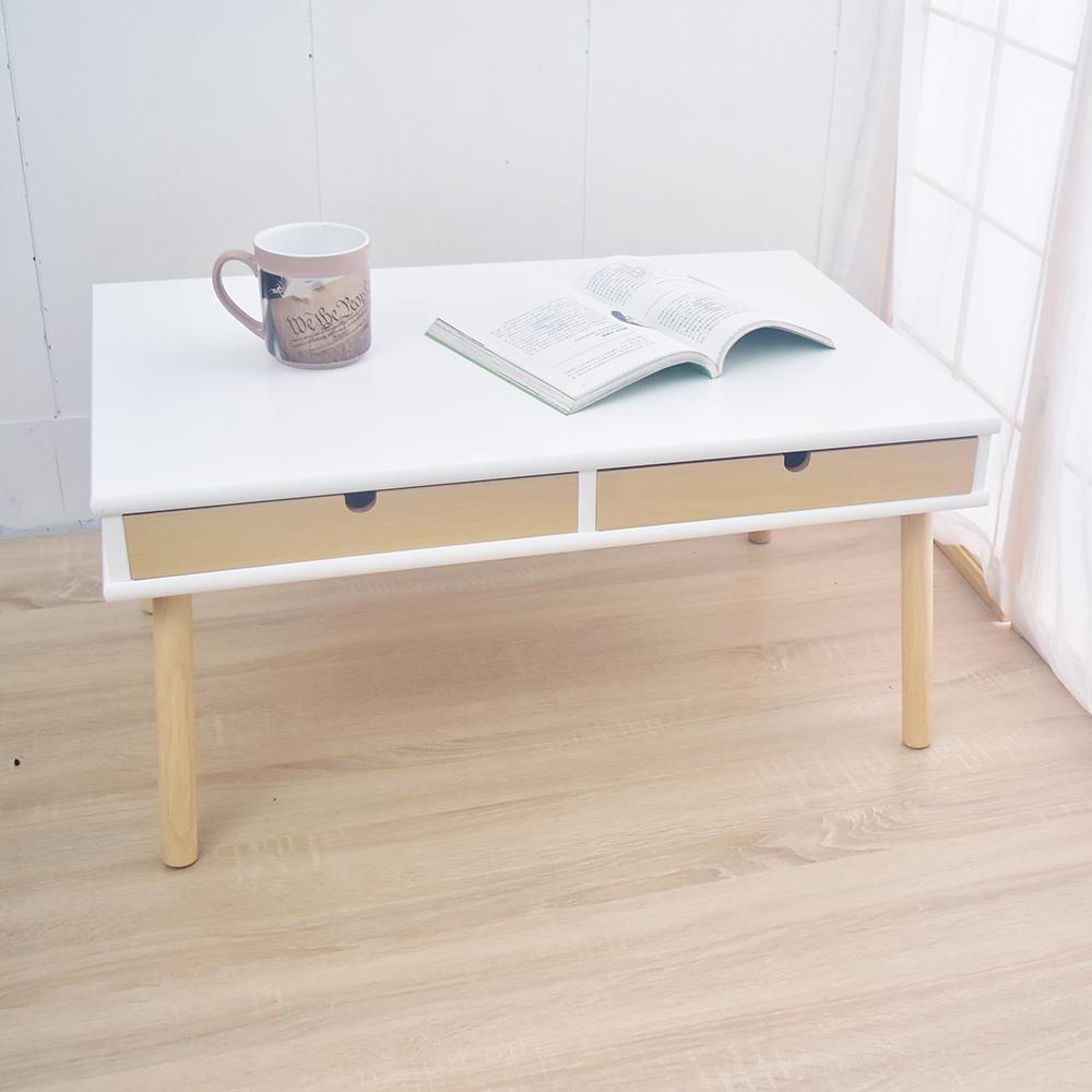 凱堡 雙抽屜實木腳 TV電視櫃 和室桌 茶几桌-原木白 75x50x35.5cm