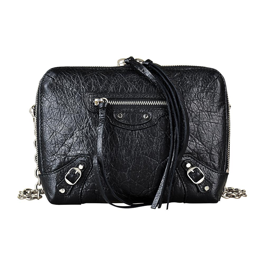 BALENCIAGA巴黎世家經典銀釦小羊皮鏈帶拉鍊斜背包(黑) @ Yahoo 購物