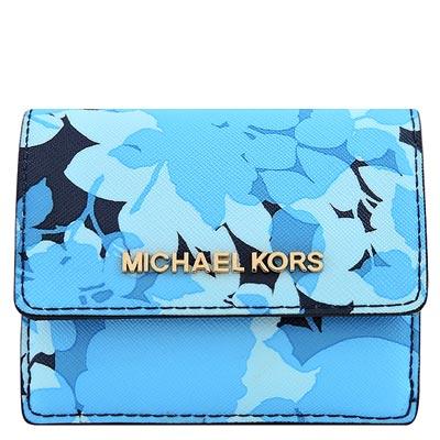 MICHAEL KORS JET SET花朵防刮牛皮零錢/短夾(藍色)