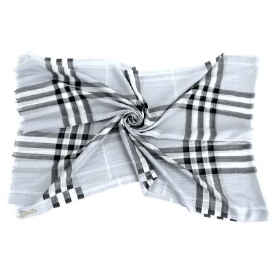 BURBERRY 格紋羊毛絲綢圍巾(粉色)