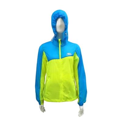 AROPEC RUNNING女款防曬防風連帽外套 黃/藍