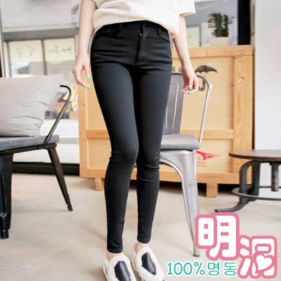 彈力收腰貼身窄管長褲 (黑色)-100%明洞