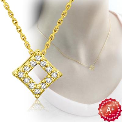 A+黃金 精緻滿鑽菱形 千足黃金鎖骨墜