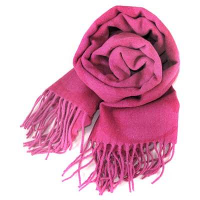 COACH 大C Logo羊毛混兔毛絲絨義大利製保暖長圍巾(玫瑰粉紫色)