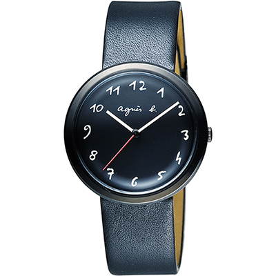 agnes b. 自由的主題時尚腕錶(BH8031X1)-黑/36mm