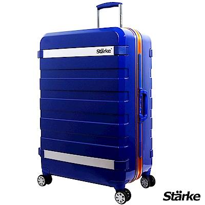 Starke 29吋 PC 鏡面鋁框耐撞TSA海關鎖行李箱/旅行箱 J系列-藍色