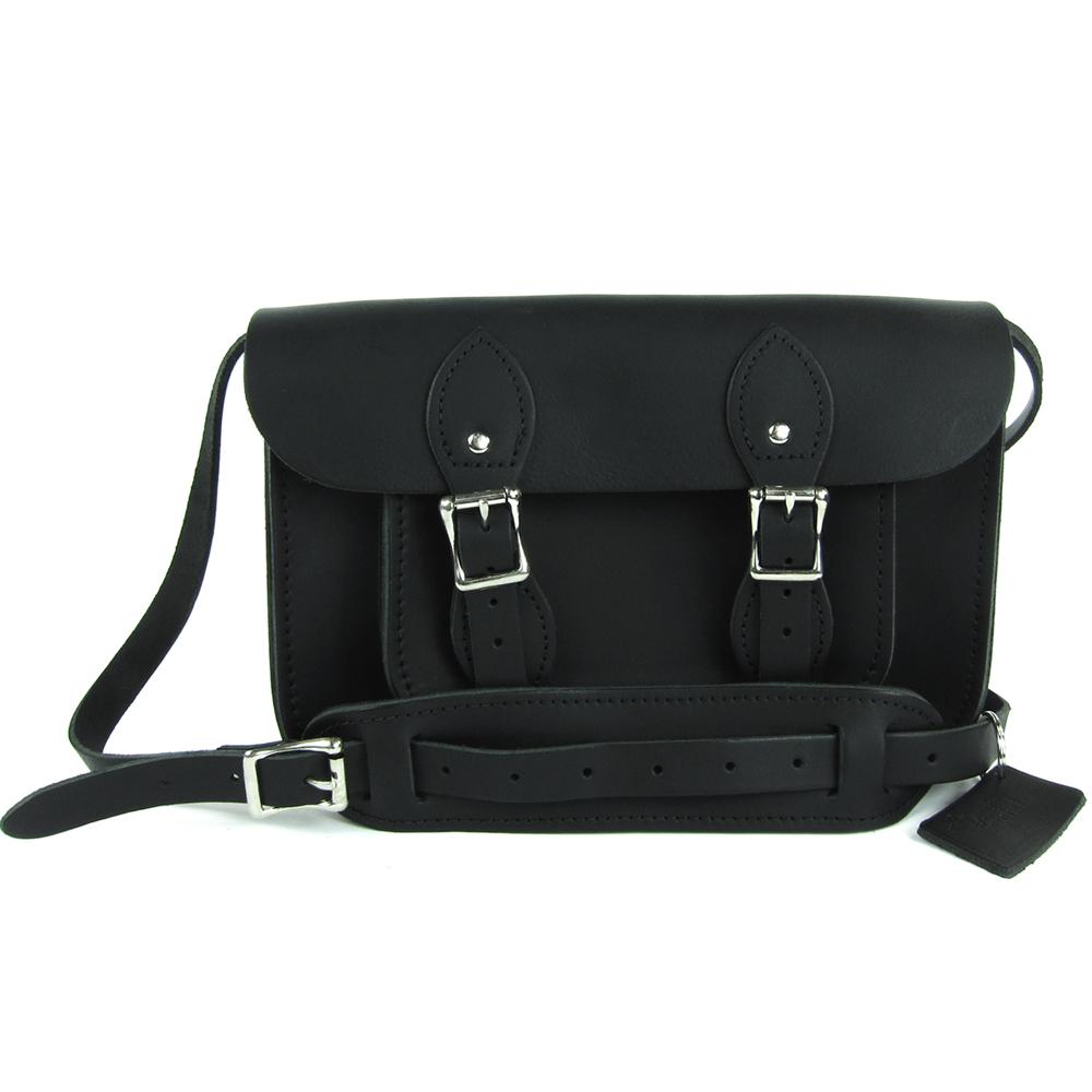 The Leather Satchel 英國手工牛皮劍橋包 肩背 側背包 原色黑 11吋
