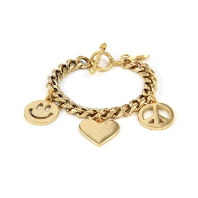Ettika 美國品牌 金色幸運三墜 個性設計粗款手鍊 愛心 和平 笑臉