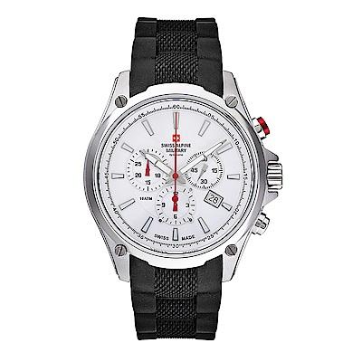 阿爾卑斯 S.A.M-獨家限定-紅色警戒系列三眼計時-白錶盤/橡膠錶帶/44mm