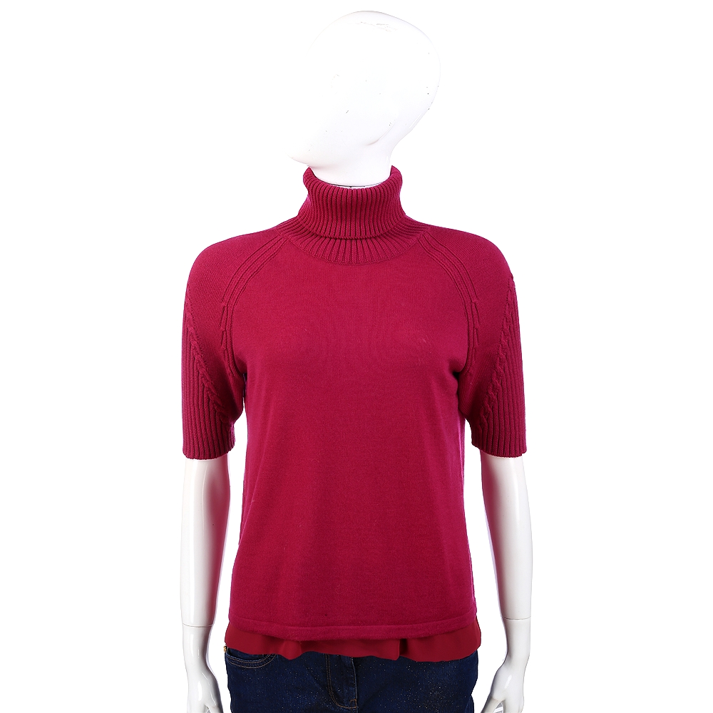 PHILOSOPHY 紫紅色高領羊毛短袖上衣(100%LANA)