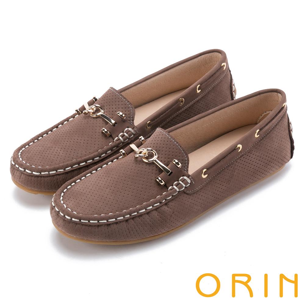 ORIN 復古樂活主義 牛皮金屬飾釦平底鞋-可可