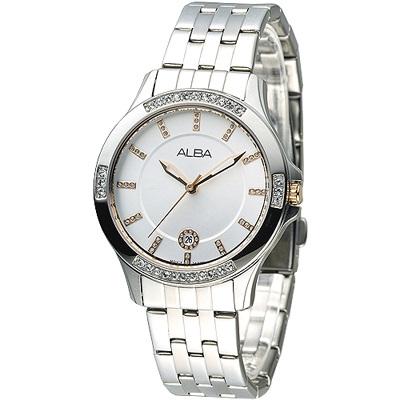 ALBA 晴空浪漫晶鑽女錶-銀x玫瑰金刻(AG8401X1)/36mm 保固二年
