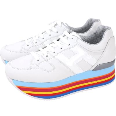 HOGAN Maxi H222 彩虹厚底繫帶休閒鞋(白色)