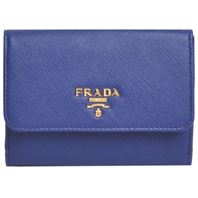 PRADA SAFFIANO PATTINA 釦式零錢包多卡三折中夾(藍色/1MH523)
