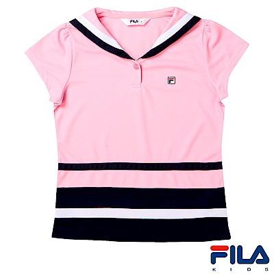 FILA KIDS 女童吸濕排汗上衣-粉紅5TES-4416-PK
