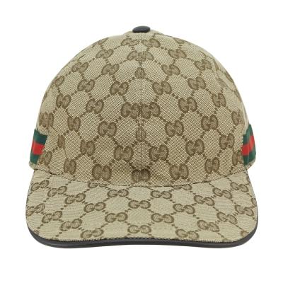 GUCCI 經典GG LOGO綠紅綠提花布系列鴨舌帽(米/咖啡)