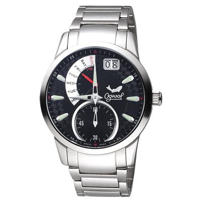 Ogival 愛其華 大視窗逆跳星期腕錶-黑x銀/42mm