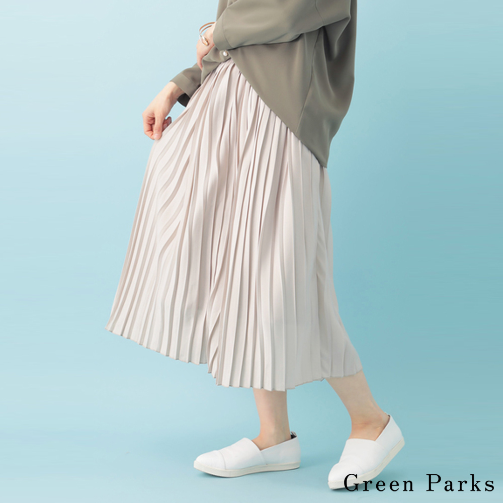 Green Parks氣質鬆緊腰際百摺裙