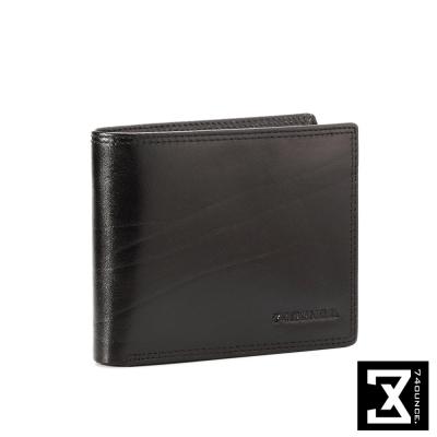 74盎司 Maroon馬鞍皮橫式短夾(大)[N-377]黑