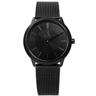 CK 浪漫簡約米蘭編織不鏽鋼手錶-鍍黑/34mm