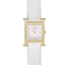 HERMES Heure H小牛皮金框石英女仕腕錶(白/21mm)