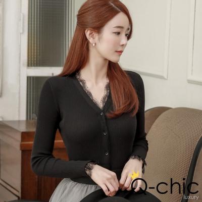 正韓 蕾絲V領長袖針織外套 (共三色)-Q-chic