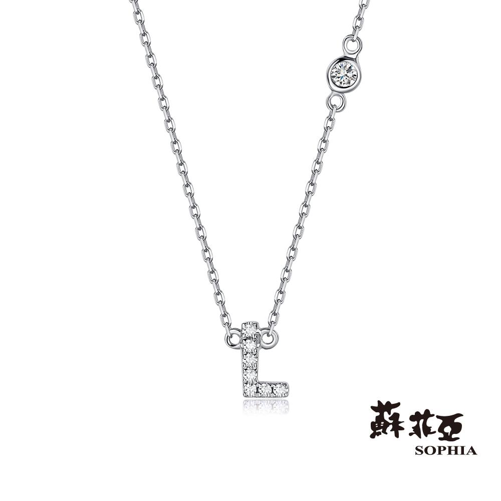 蘇菲亞SOPHIA 鑽鍊-英文字母鍊系列 L字鑽石項鍊(共2色)