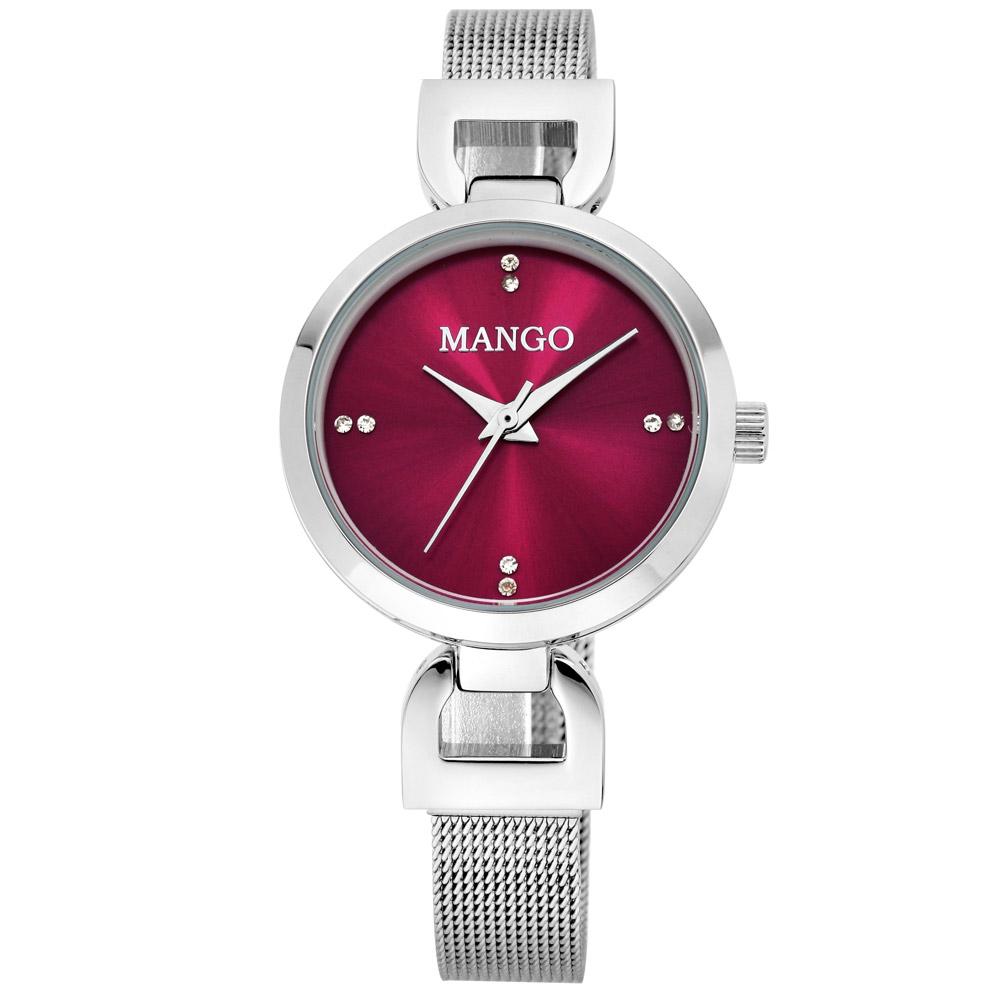 MANGO 歐美極簡素雅晶鑽時尚腕錶-紅/29mm