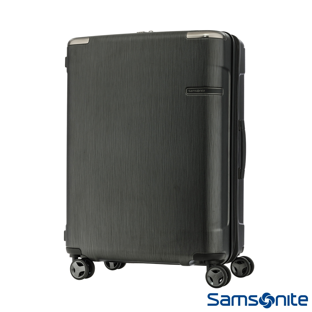 Samsonite新秀麗25吋 Evoa 拉絲光澤防盜拉鍊抗震輪TSA硬殼行李箱(黑)