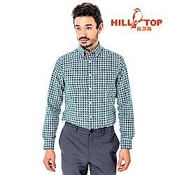 【hilltop山頂鳥】男款吸濕排汗抗UV長襯衫S05M63-綠格子