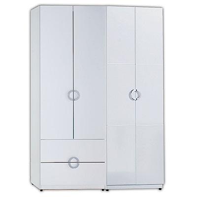 AT HOME-凱倫4.6尺白色兩件組合衣櫃[二抽+雙吊](140*54*197cm)
