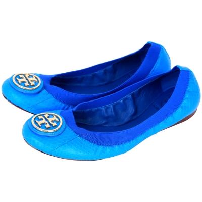 TORY BURCH Caroline 壓紋鬆緊帶飾邊芭蕾舞鞋(亮藍色)