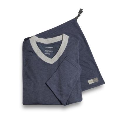 寬庭行旅-克倫洛夫-V領中性款兩件式家居服(麻花藍色)-附收納袋