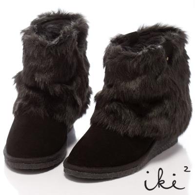 iki2雪國精靈-2Way暖呼呼楔型舞台雪靴-黑