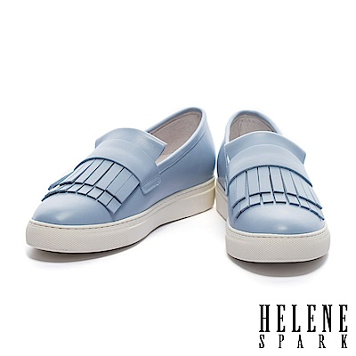 休閒鞋 HELENE SPARK 清新甜美雙層流蘇全真皮厚底休閒鞋-藍