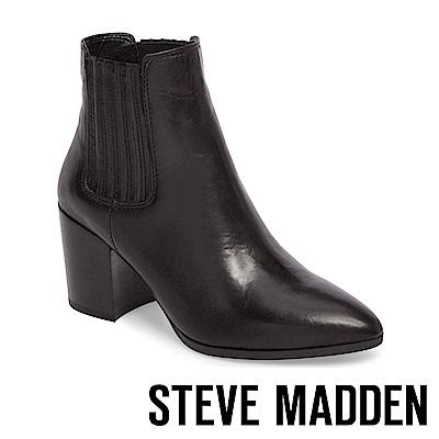 STEVE MADDEN-JACLYN 尖頭粗跟雀爾喜靴-黑色