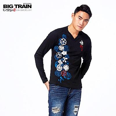 BIG TRAIN 家徽戰魂V領長袖-男-黑