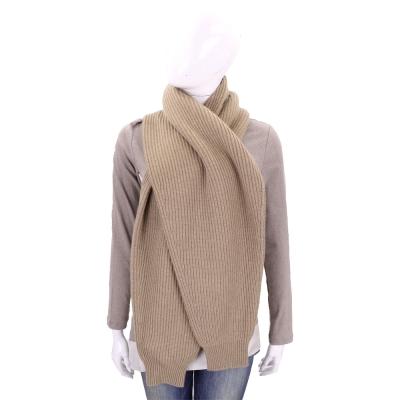 MAX MARA-'S Max Mara 駝棕色直紋針織羊毛圍巾(80%WOOL)